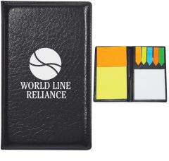 Leather Look Pad-folio With Sticky Note Pads & Flags