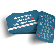 How to Listen when kids talk about abuse Wallet Card