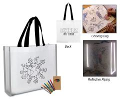 Reflective Coloring Tote Bag & Crayons