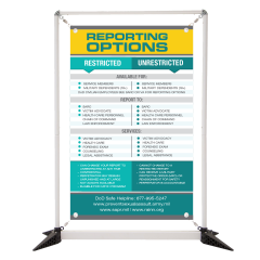 Reporting Options 3' Table Top Double Sided Banner