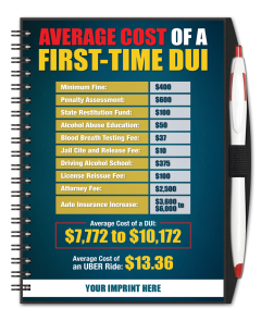 Average Cost Of A First Time DUI Journal w/ Pen