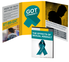 The Effects of Sexual Assault Booklet with Awareness Ribbon Magnet